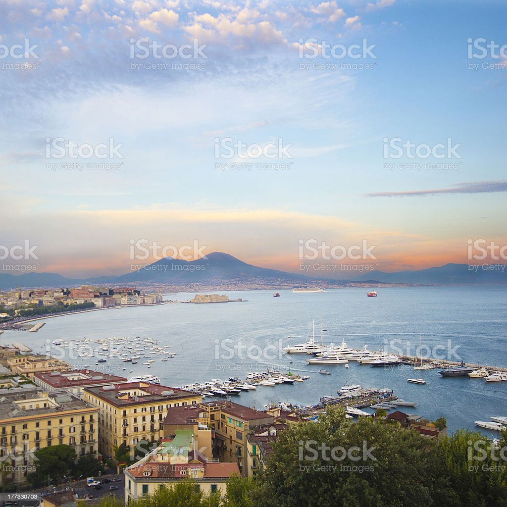 Aerial view of Naples, Italy at sunset stock photo