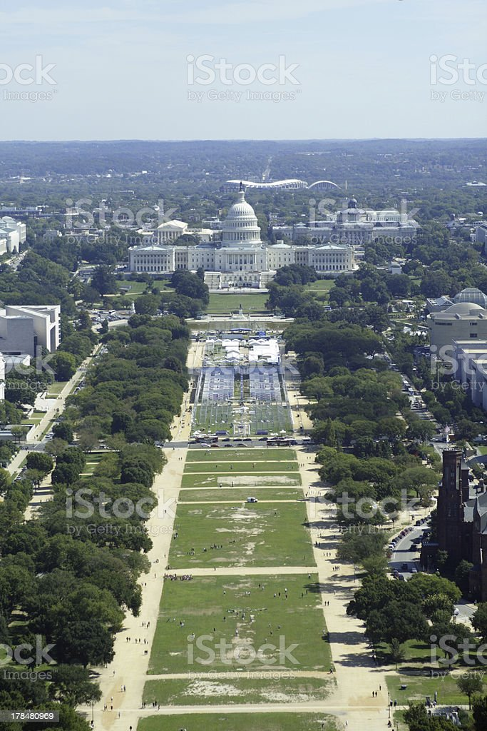 Aerial view of National Mall stock photo