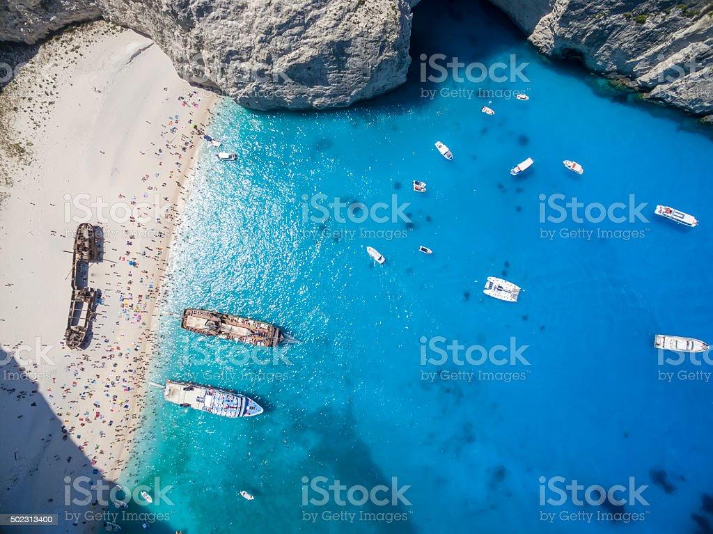 Aerial view of Navagio (Shipwreck) Beach in Zakynthos, Navagio B stock photo