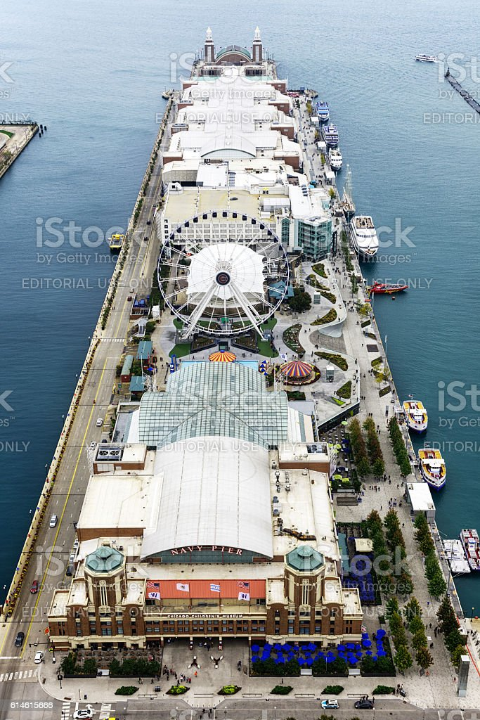 Aerial view of Navy Pier, Chicago stock photo