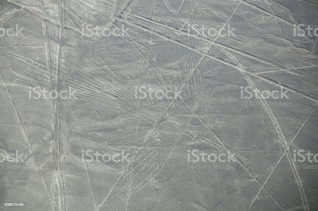 Aerial view of Nazca Lines geoglyphs in Peru stock photo
