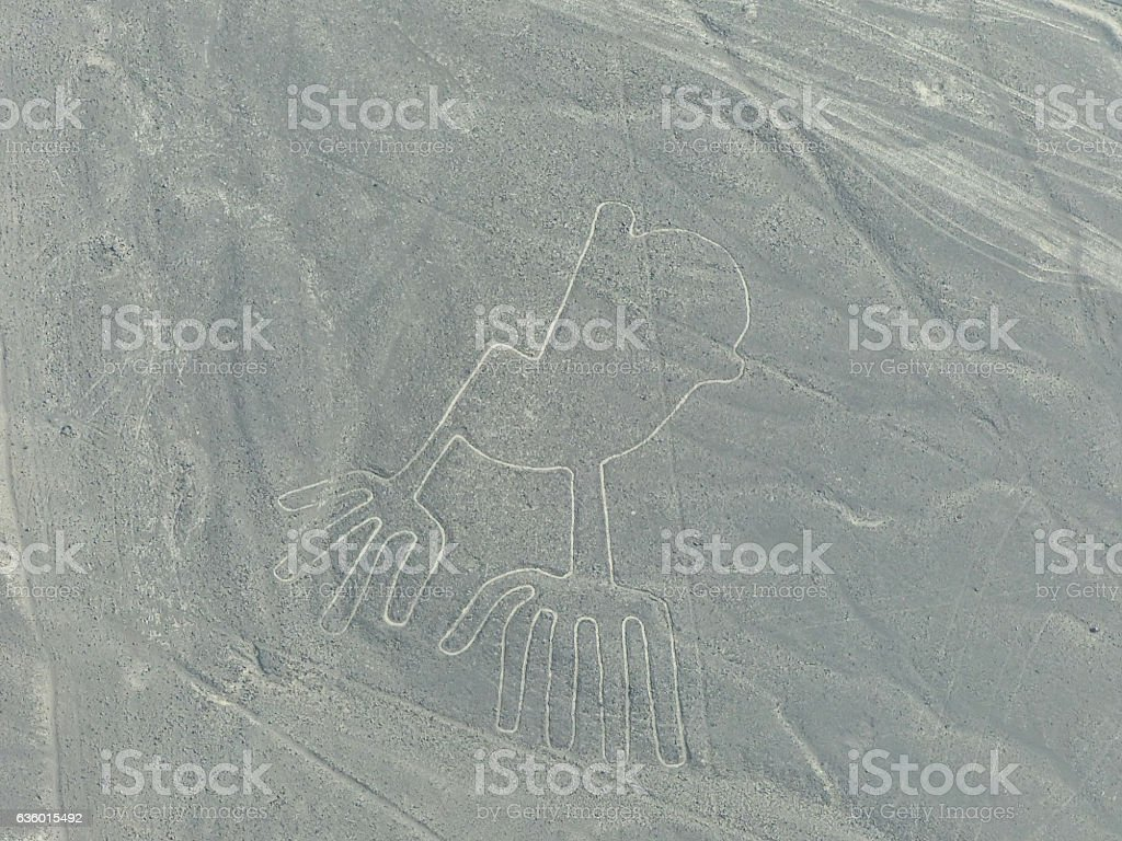 Aerial view of Nazca Lines - Hands geoglyph, Peru. stock photo