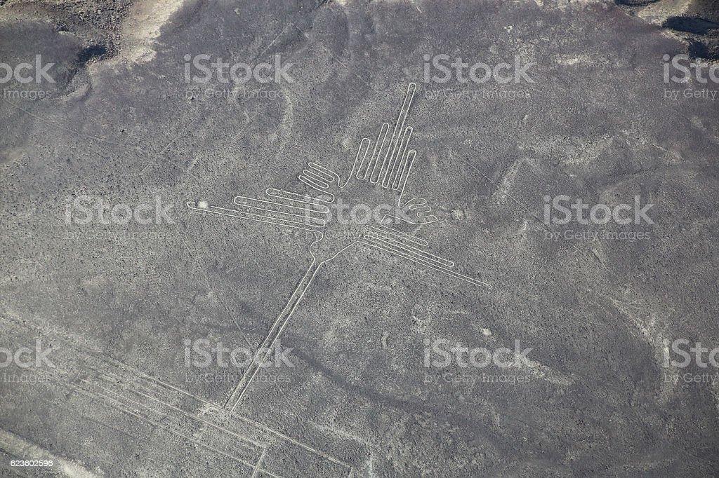 Aerial view of Nazca Lines - Hummingbird geoglyph, Peru. stock photo