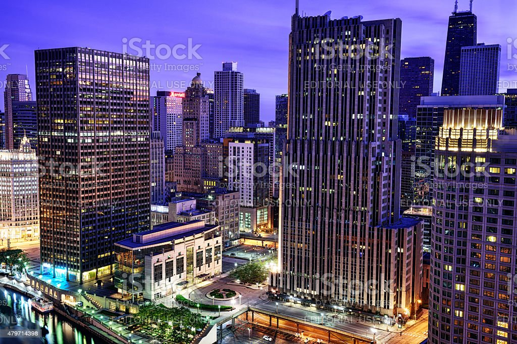 Aerial view of Near North Side of Chicago at dusk stock photo