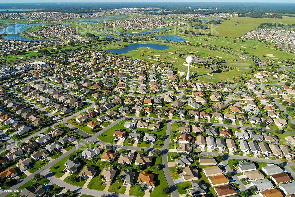 Aerial View of Neighborhood and Golf Course stock photo