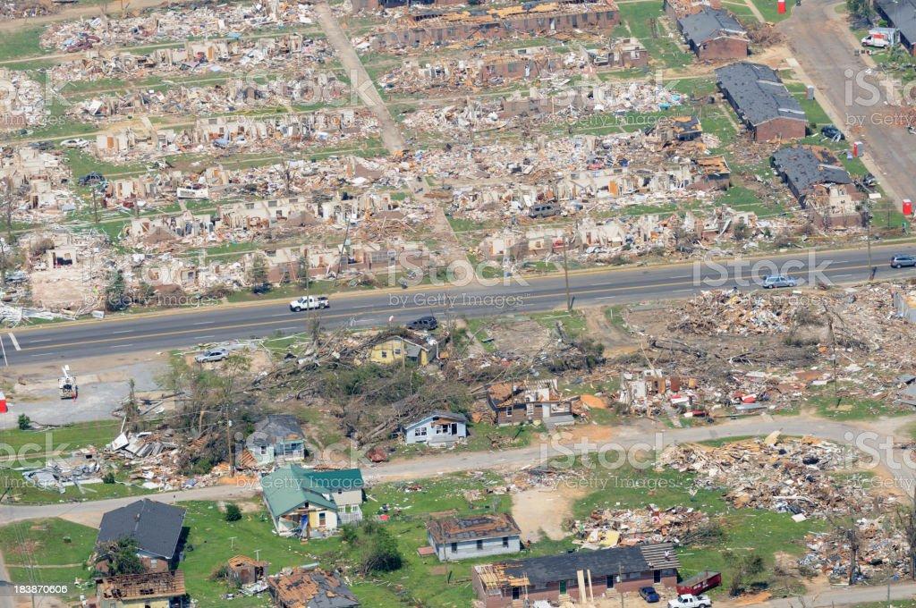 Aerial view of neighborhood demolished by tornado stock photo