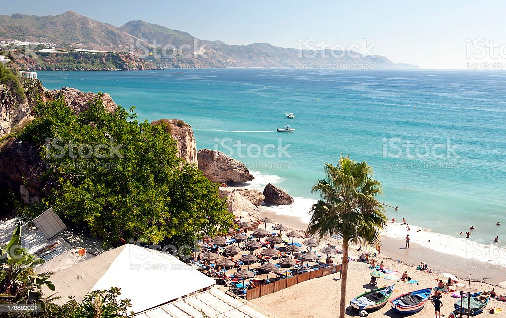 Aerial view of Nerja beach in Spain with mountain view stock photo