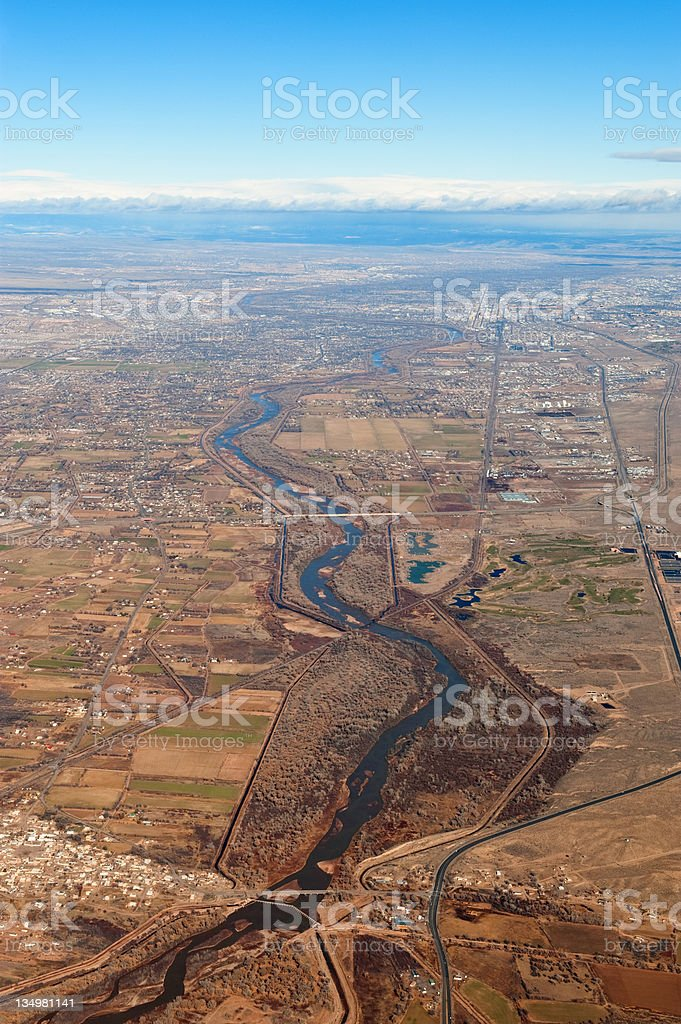 Aerial View of New Mexico Rio Grande Valley royalty-free stock photo