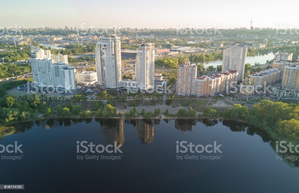 Aerial view of new modern residential Obolon district near Dnieper river in Kiev city, Ukraine stock photo