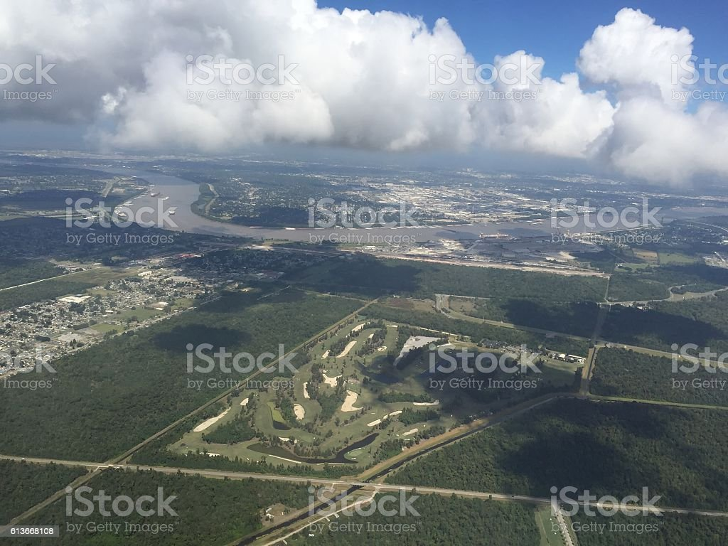aerial view of New Orleans Mississippi River Basin stock photo