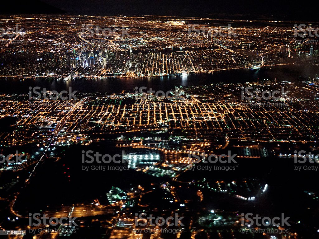 Aerial view of New York at night royalty-free stock photo