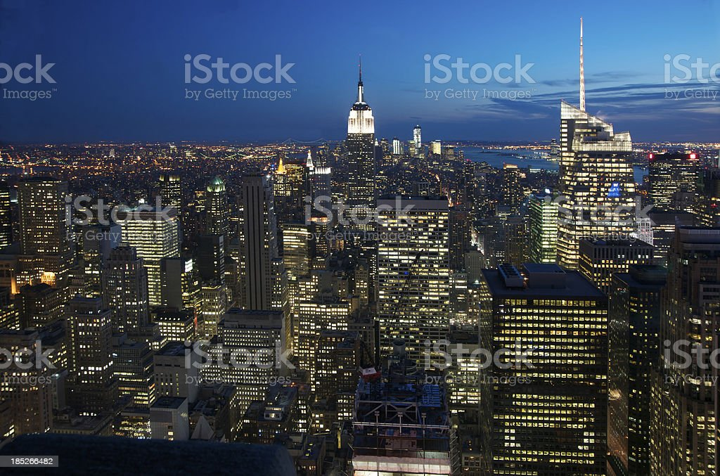 Aerial view of New York City at Dusk royalty-free stock photo