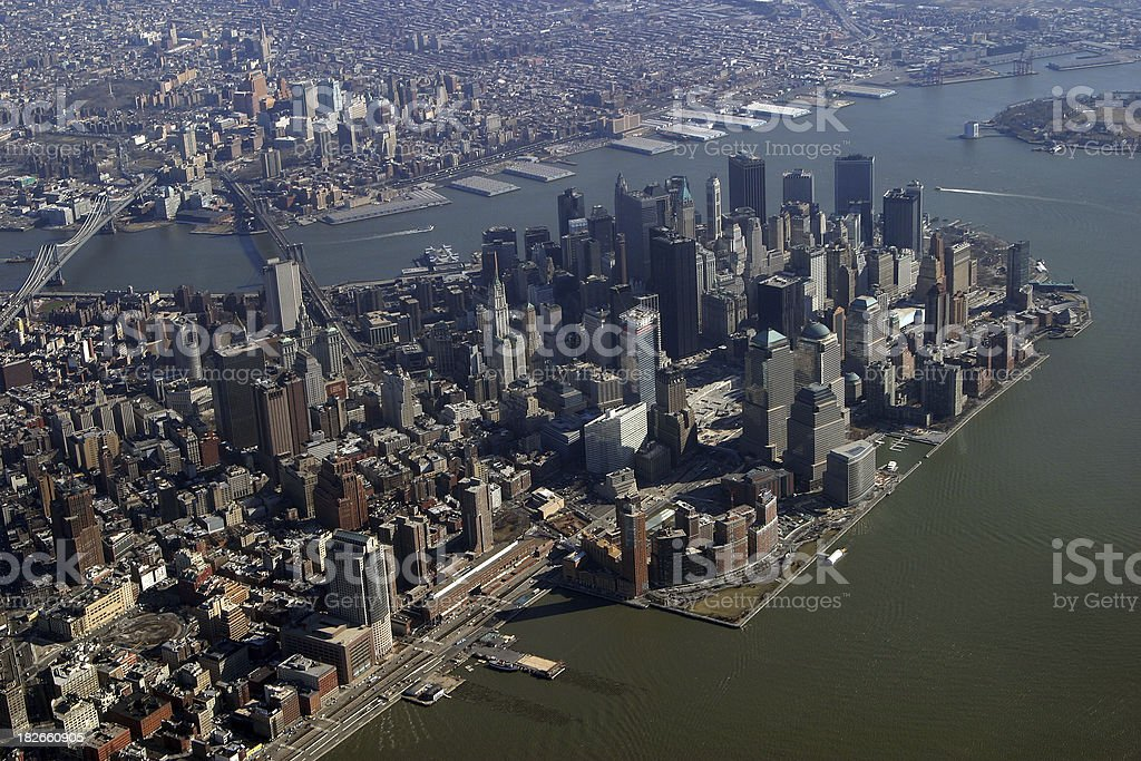 Aerial View of New York City Downtown royalty-free stock photo