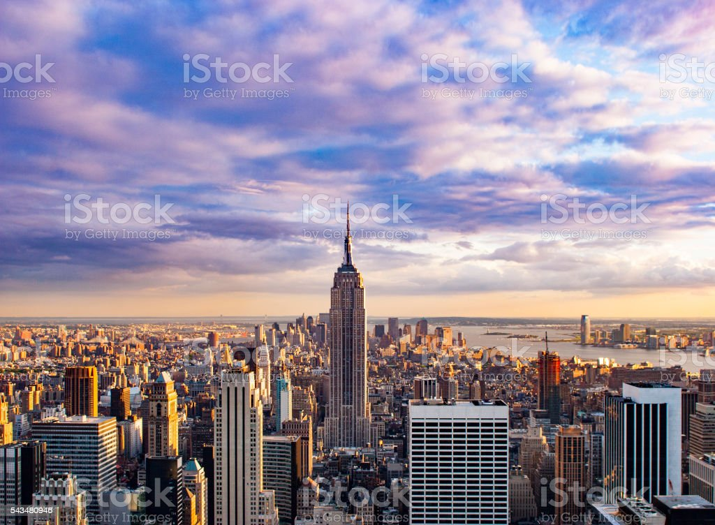 Aerial view of New York City Skyline at Sunset stock photo