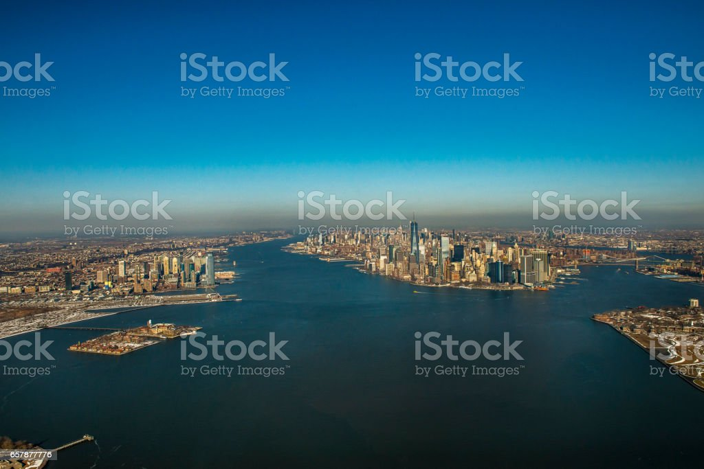 Aerial view of New York City skyline via helicopter stock photo