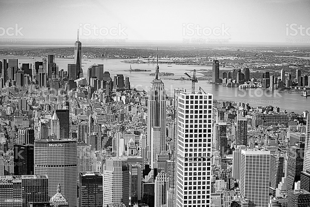 Aerial View of New York City's Tallest Skyscrapers stock photo