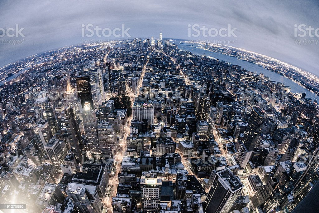 Aerial view of New York Midtown skyline stock photo