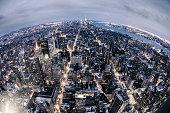 Aerial view of New York Midtown skyline