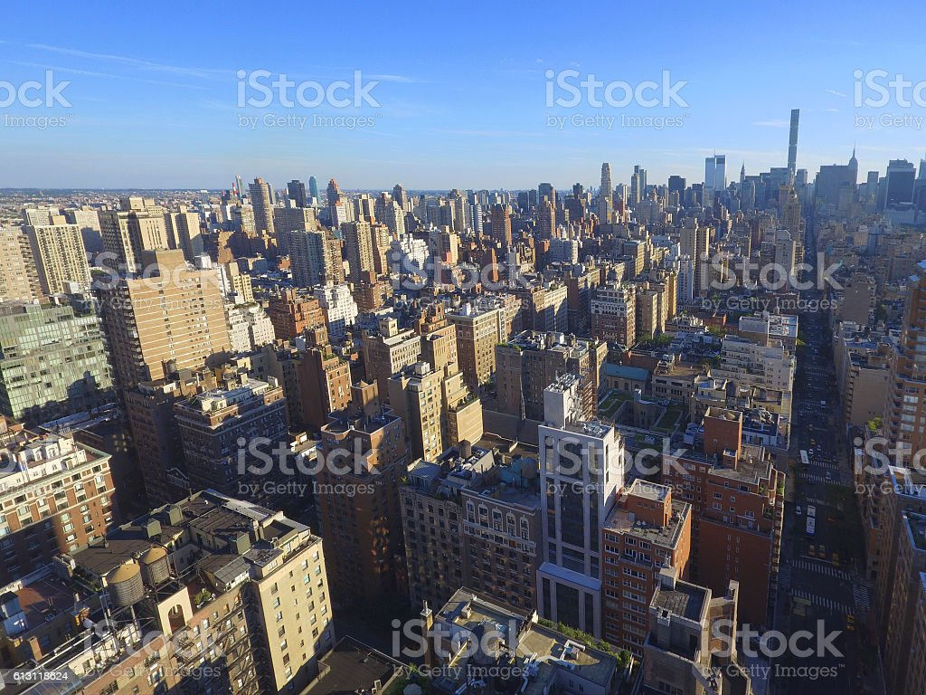 Aerial view of New York skyscrapers stock photo