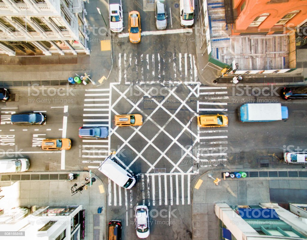 Aerial view of new york street stock photo