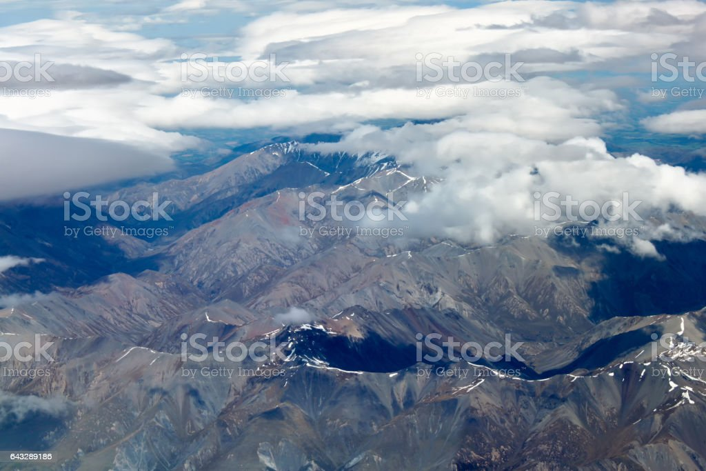 Aerial view of New Zealand mountains, South Island stock photo