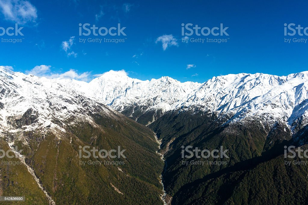 Aerial view of New Zealand mountains with river, wilderness land stock photo