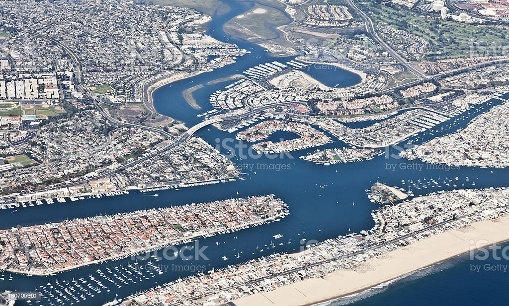 Aerial view of Newport Beach, California royalty-free stock photo