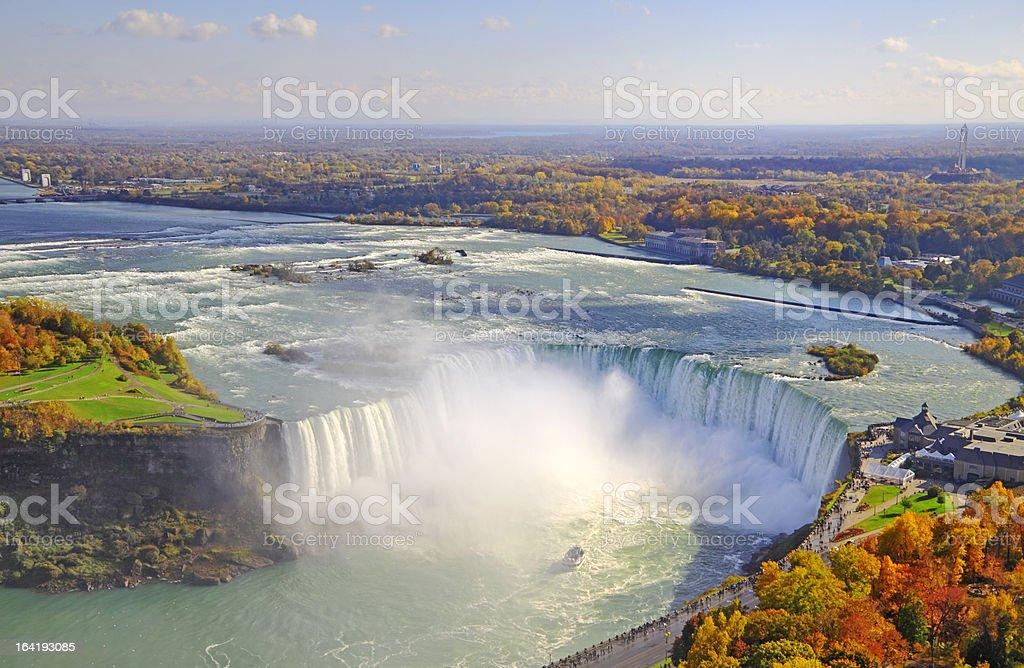 Aerial view of Niagara Falls in autumn stock photo