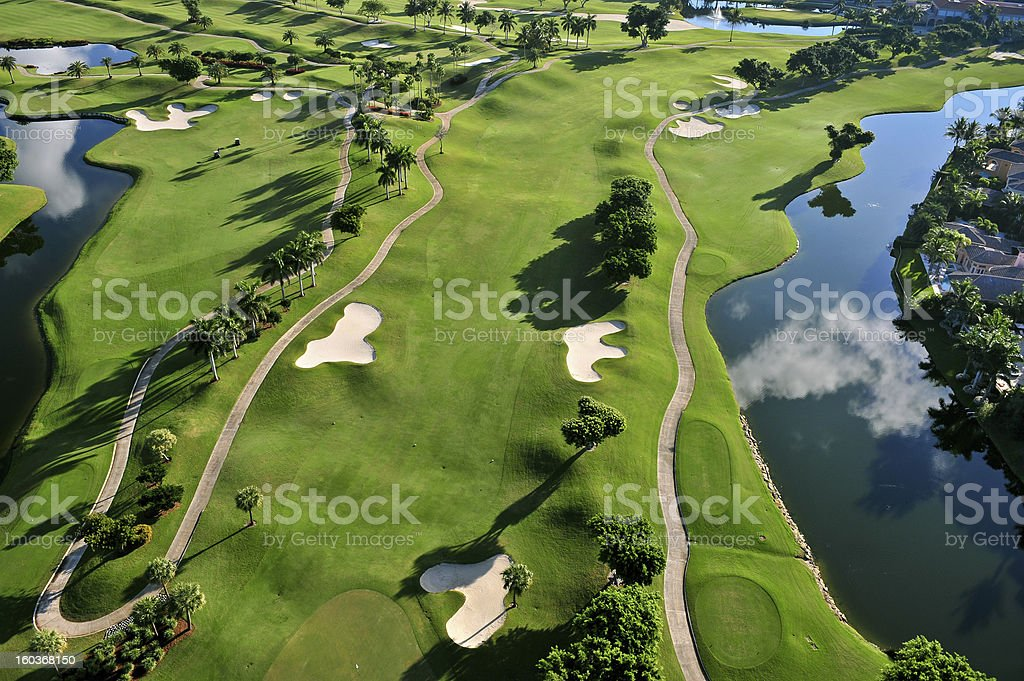 aerial view of nice florida municipal golf course stock photo