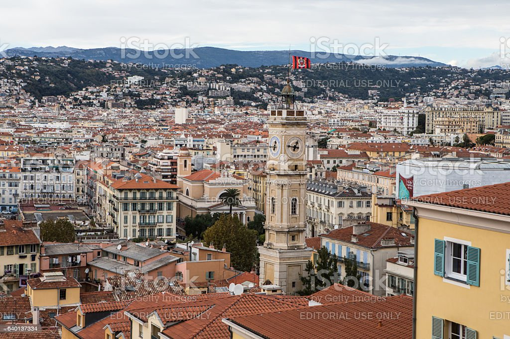 Aerial view of Nice old town from Colline du Chateau stock photo
