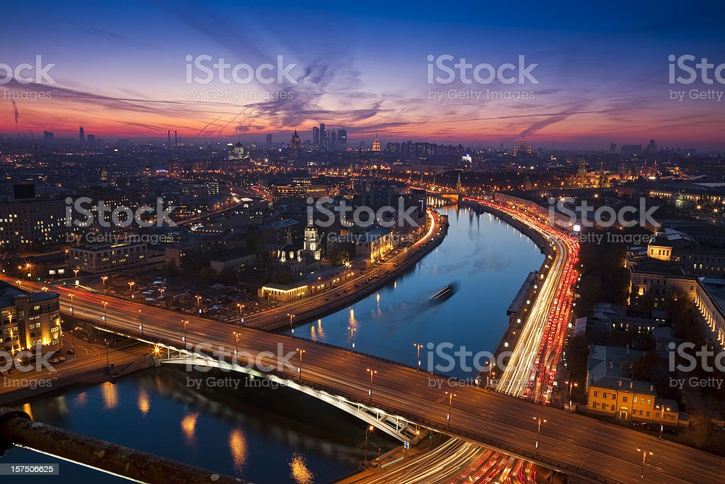 Aerial view of night Moscow stock photo