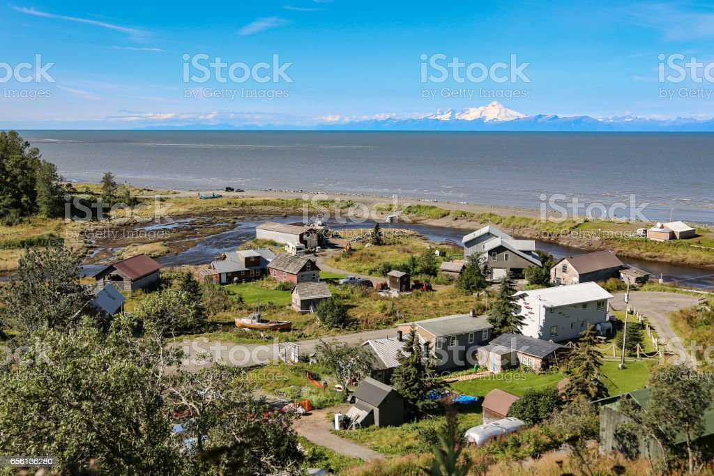 Aerial view of Ninilchik a small Alaskan Native village with Cook Inlet stock photo