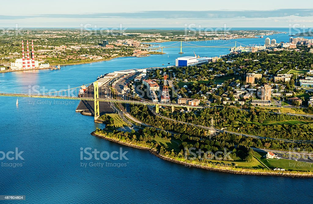 Aerial View of North End Halifax stock photo