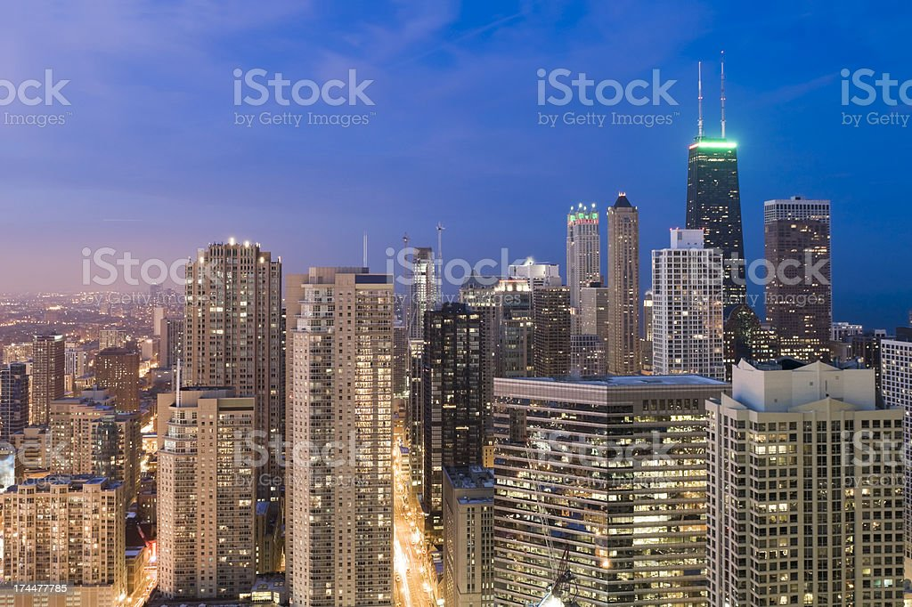Aerial View of Northern Chicago Skyline at Dusk royalty-free stock photo