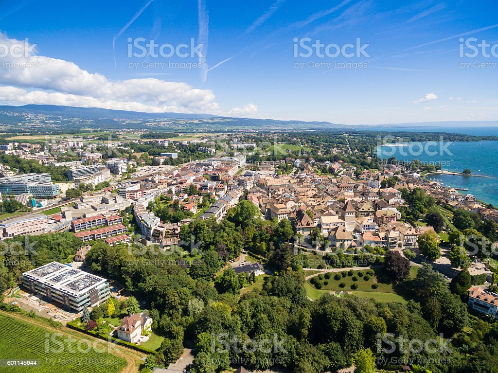 Aerial view of Nyon old city and waterfront in Switzerland stock photo