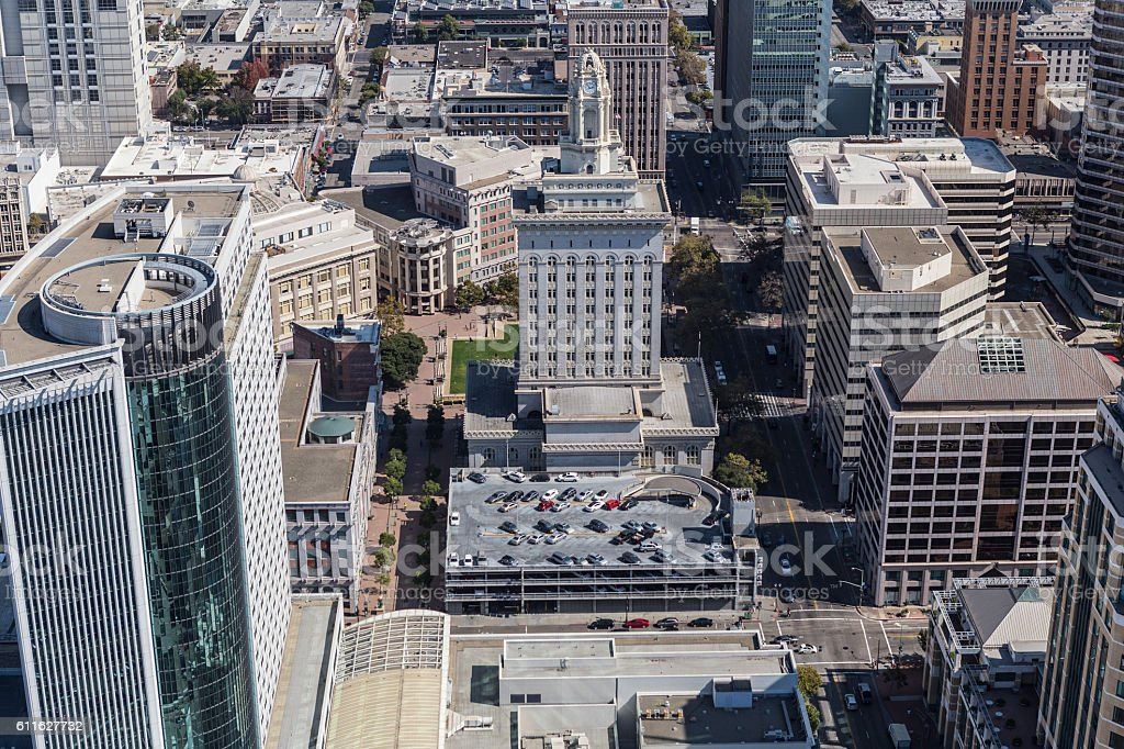Aerial View of Oakland City Hall in California stock photo