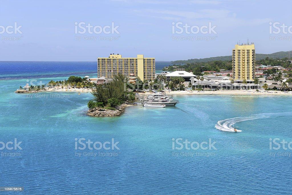 Aerial View of Ocho Rios Jamaica stock photo