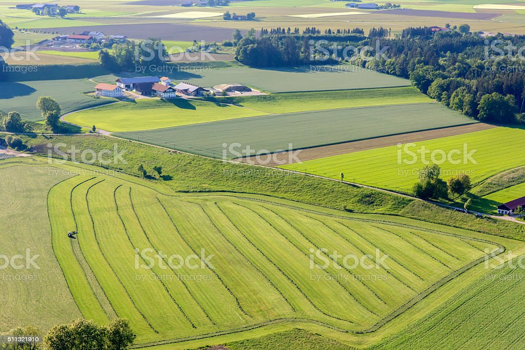 aerial view of of tractor on field stock photo