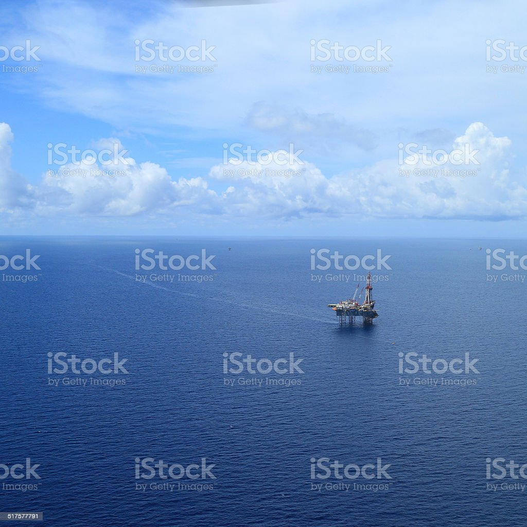 Aerial View of Offshore Jack Up Drilling Rig stock photo