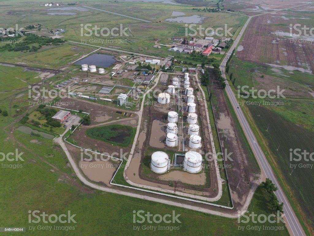 Aerial view of oil storage tanks stock photo