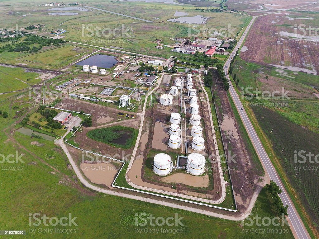 Aerial view of oil storage tanks stock photo