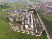 Aerial view of oil storage tanks