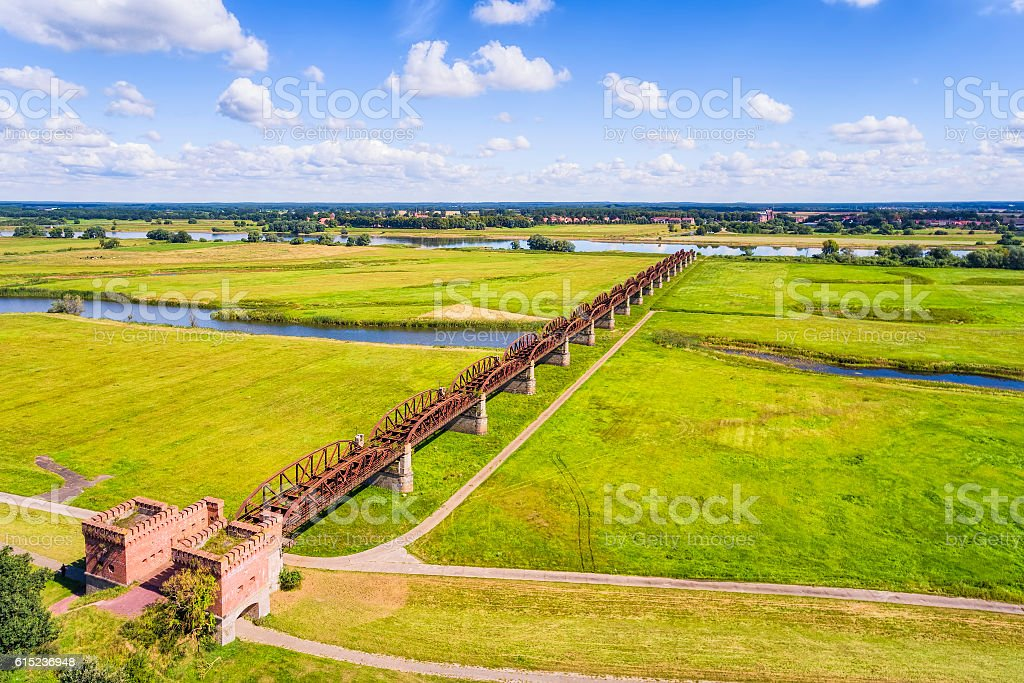Aerial View of old bridge Elbbrücke Doemitz on River Elbe stock photo