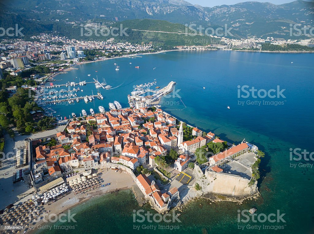 Aerial View of Old Budva in Montenegro. stock photo