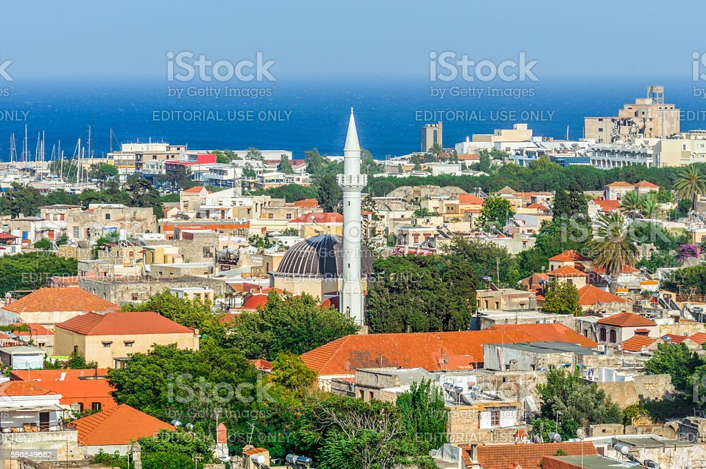 Aerial view of old center of Rhodes, Greece stock photo
