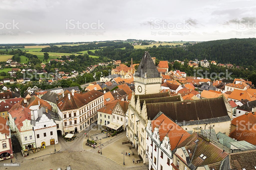 Aerial view of Old City Hall in Tabor, Czech Republic stock photo