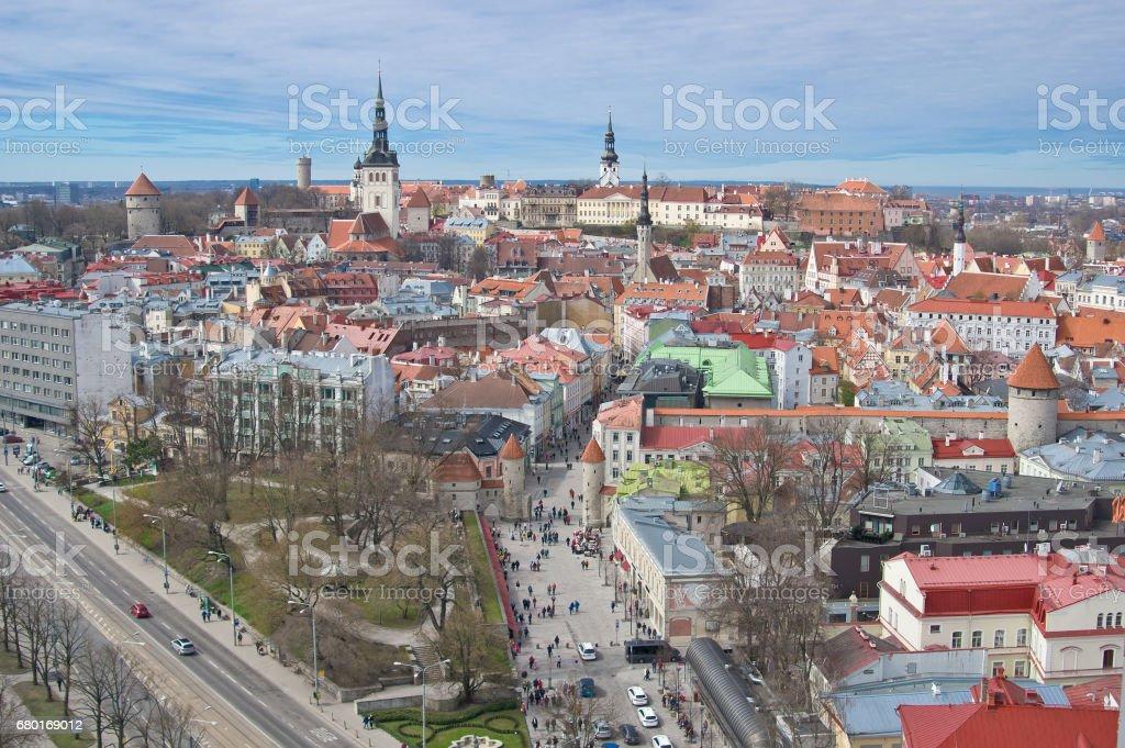 Aerial view of old city of Tallinn and the beginning of Viru street, Estonia stock photo