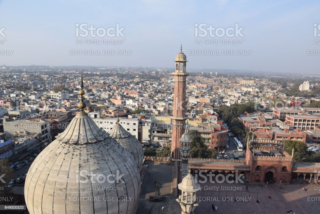 Aerial view of old Delhi from a minar of Jama Masjid mosque stock photo