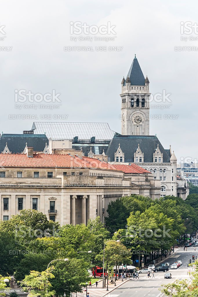 Aerial view of Old Post Office stock photo