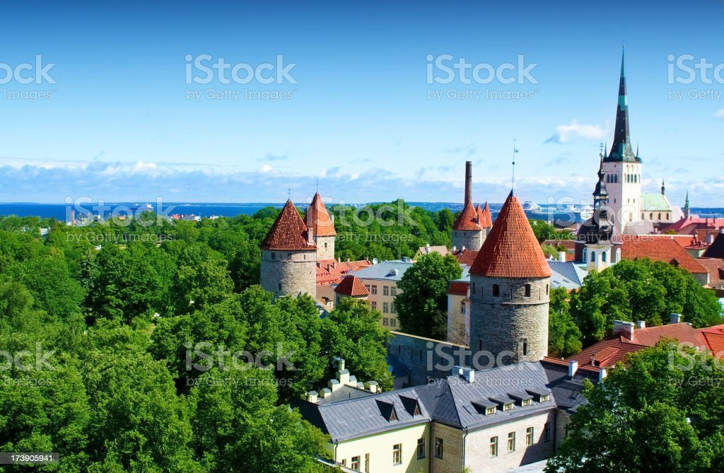 Aerial view of Old Tallinn town royalty-free stock photo